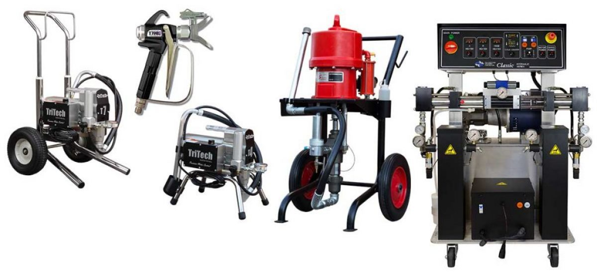 """Storm Machinery offers a variety of spray painting equipment for all industrial and commercial applications including airless spray pumps, electric spray pumps, petrol petrol spray pumps, plural proportioner spray pumps, conventional plural spray equipment as well as a variety of airless spray guns and tips, paint mixers and paint hose. Storm Machinery's range of hydraulic and air driven proportioners are recommended for both commercial and industrial spraying of foam, polyurea, polyurethane and other fast curing, two component coatings. [themify_button style=""""large red square"""" link=""""http://www.stormmachinery.co.za/sa2016/product-category/spray-painting/"""" ]See more[/themify_button]"""